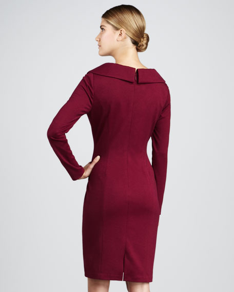 Gathered Shawl-Collar Long-Sleeve Dress