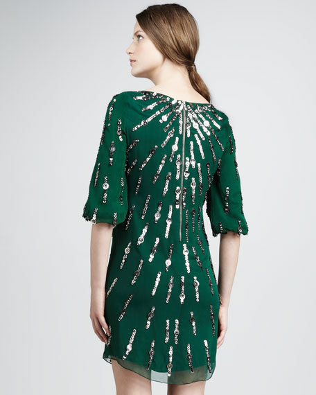 Sequined Bateau Cocktail Dress