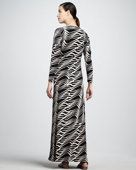 Wave-Stripe Long-Sleeve Maxi Dress
