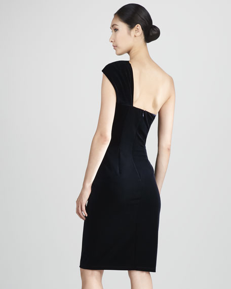 Ruched One-Shoulder Cocktail Dress