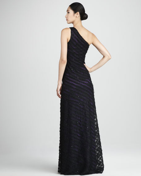 Layered One-Shoulder Gown