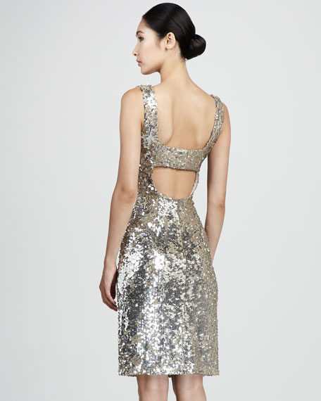 Cutout Sequined Cocktail Dress