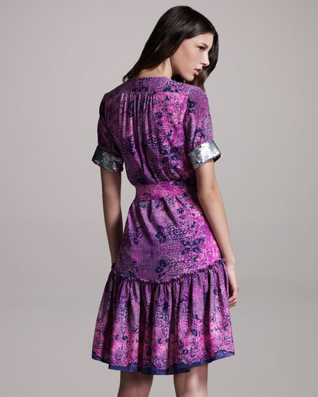 Sequin-Trim Silk Dress