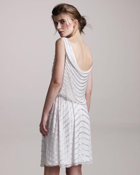 Gisel Beaded-Stripe Cowl-Back Dress