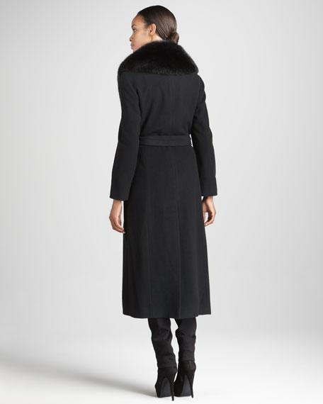 Long Fur-Trim Coat