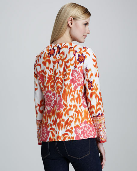 Mixed Print Jacquard Jacket, Women's