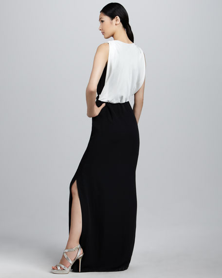 Gina Two-Tone Draped Gown