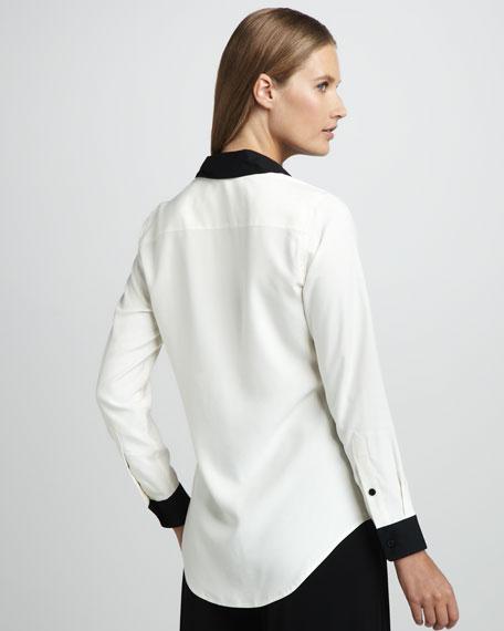 Contrast-Trim Silk Blouse, Petite