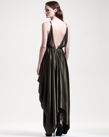 Draped Satin Tulip Gown