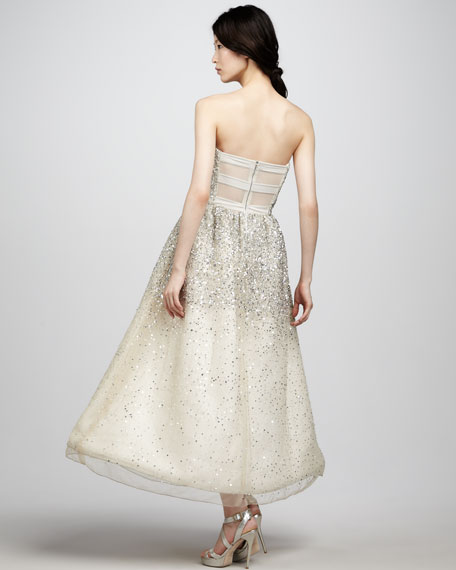 Milly Strapless Sequined Ball Gown