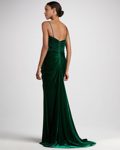 Ruched Velvet Sweetheart Gown