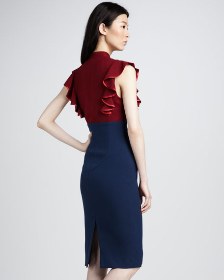Eva Ruffled Colorblock Dress