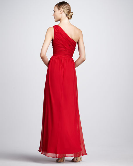 Ruched One-Shoulder Gown