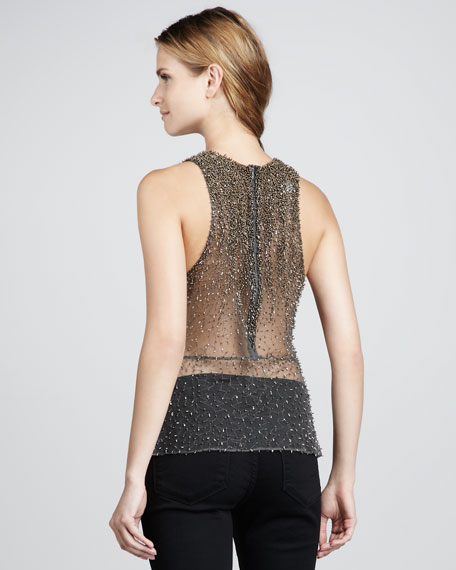 Broso Sheer Beaded Top