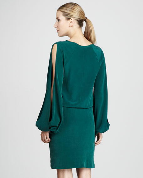 Open-Sleeve Silk Dress