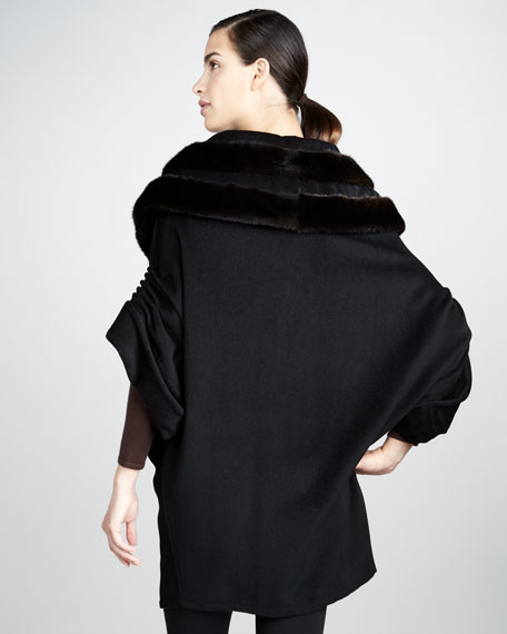 Mink-Collar Cashmere Coat