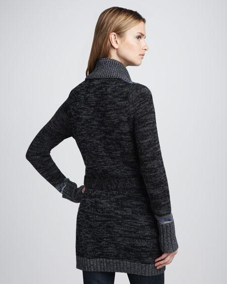 Shawl-Collar Tweed Sweater