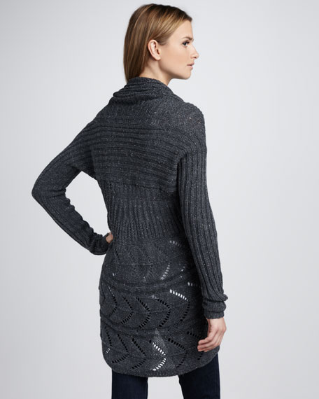 Pointelle Draped Sweater, Magma