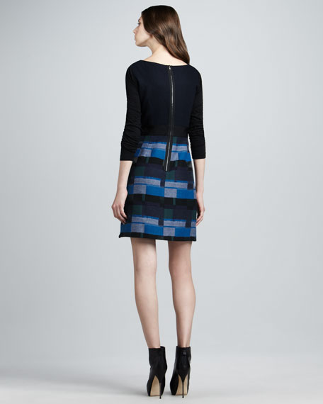 Pattern-Skirt Long-Sleeve Combo Dress