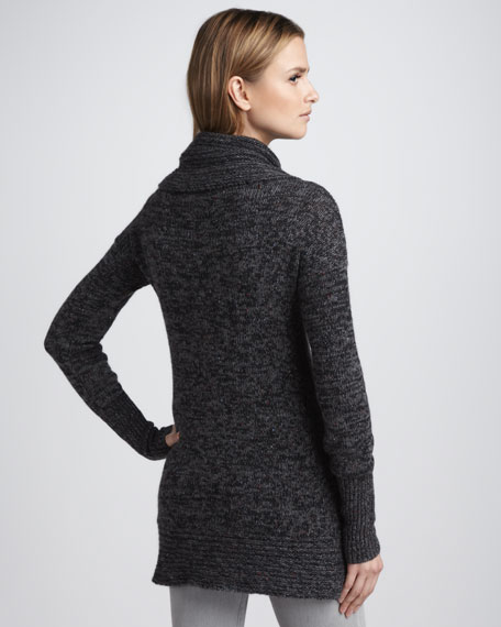 Tweed-Knit Cashmere Tunic Sweater