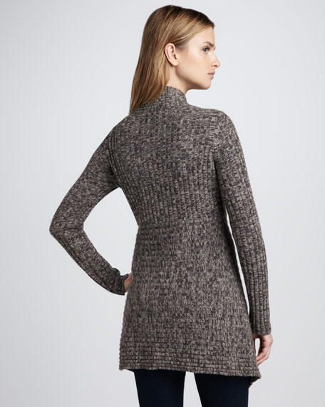 Open-Front Cashmere Sweater, Mahogany/Taupe