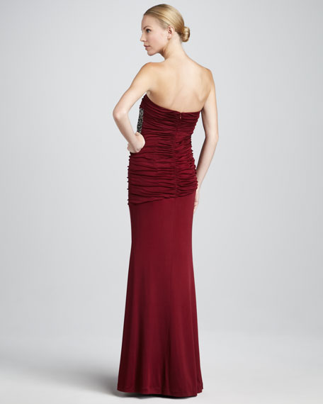 Sequin-Panel Strapless Gown