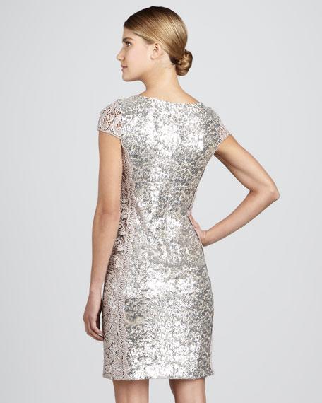 Panel-Lace Cocktail Dress