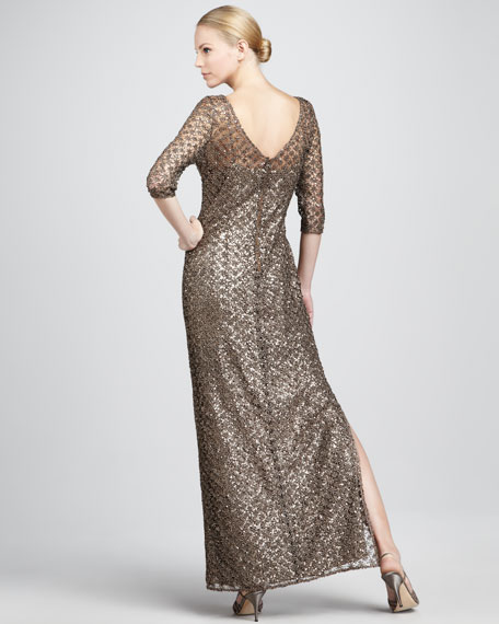 Sequined Lace-Overlay Gown
