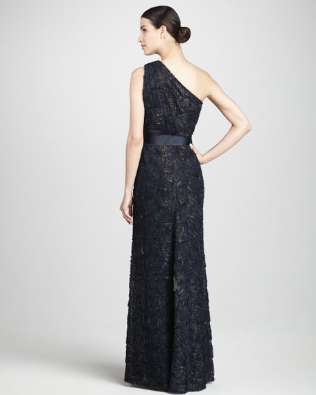 One-Shoulder Scalloped Gown