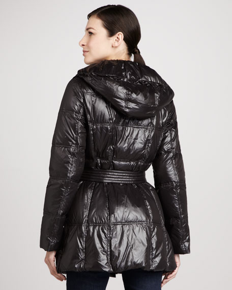 Glossy Hooded Puffer Coat