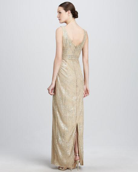 Metallic Empire-Waist Gown