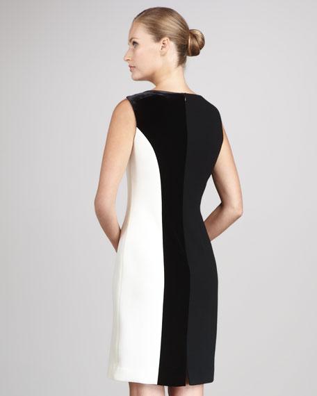 Sleeveless Crepe Colorblock Dress
