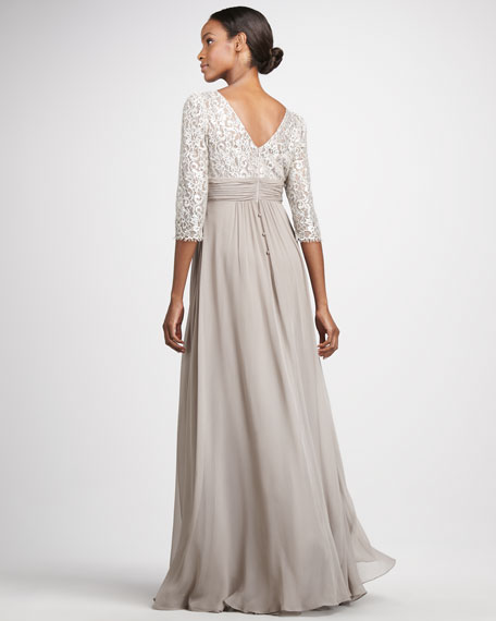 Metallic-Lace Chiffon Gown