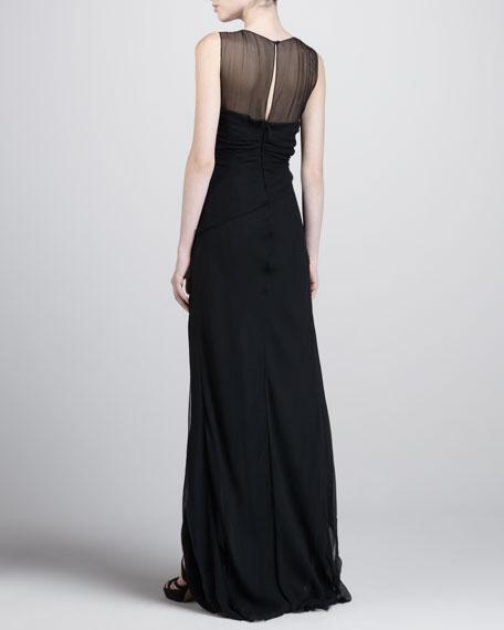 Sleeveless Illusion Gown, Black