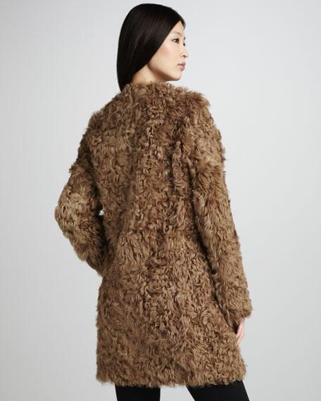 Plush Collarless Coat
