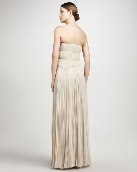 Pleated Strapless Gown, Soft Beige