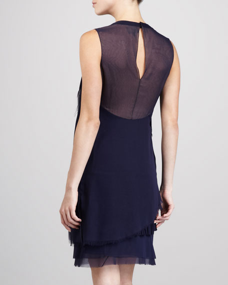 Draped Silk Shift Dress