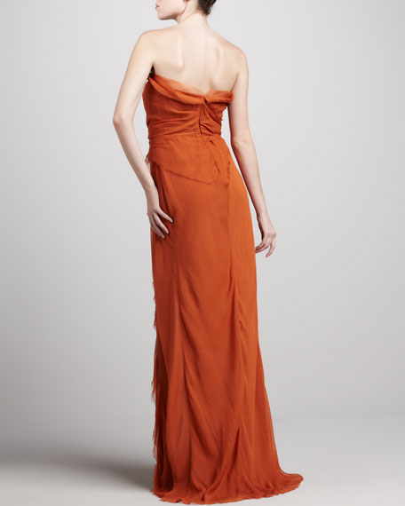 Strapless Tiered Silk Gown