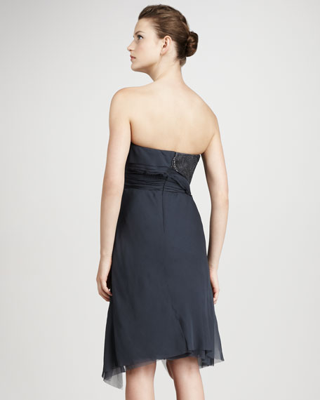 Lace-Detail Wrap Dress, Slate Blue