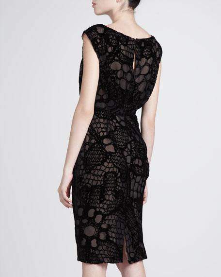 Crochet-Overlay Cap-Sleeve Dress