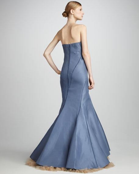 Structured Strapless Gown, Soft Iris