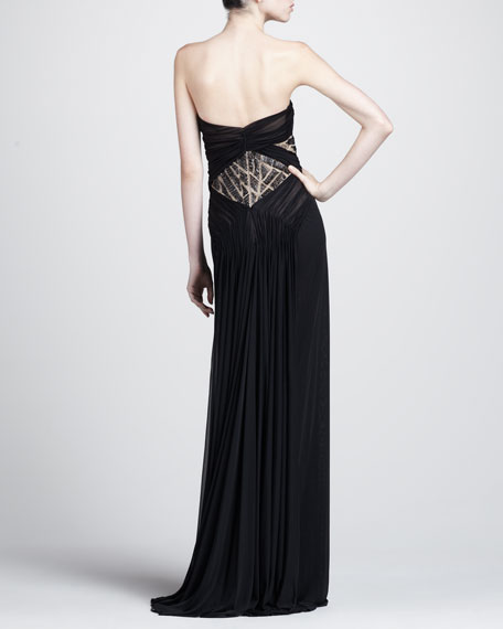 Strapless Bead-Inset Gown
