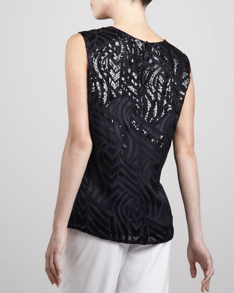 Beaded Patterned Top, Midnight