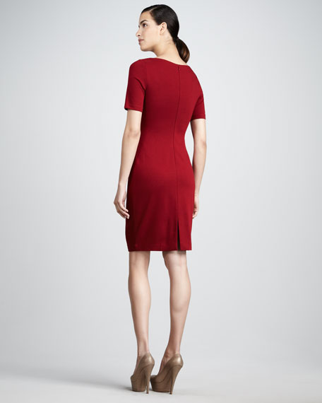 Ruched Short-Sleeve Dress