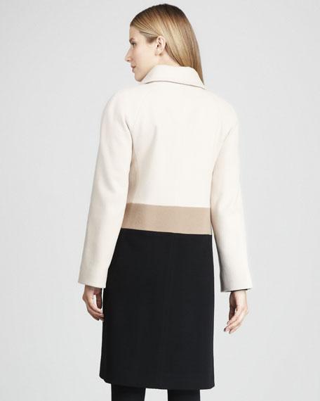 Stand-Collar Colorblock Coat
