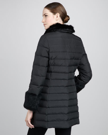 Kaia Fur-Trim Puffer Coat