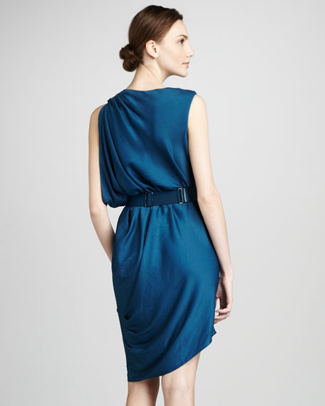Draped Cowl-Neck Dress