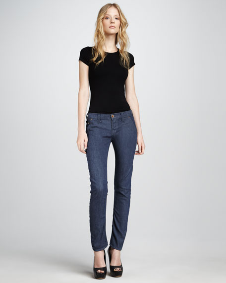 Stella HW Navy Mid-Rise Patch-Pocket Skinny Jeans