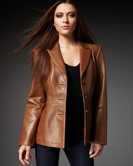 Leather Peplum Blazer, Women's