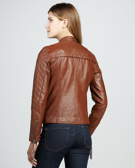 Quilted Leather Motorcycle Jacket, Camel